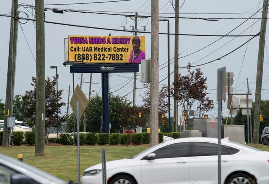 Verna Johnson has a billboard asking for a kidney near the intersection of Vaughan and Taylor Roads in Montgomery, Ala., on Thursday, Aug. 8, 2019.