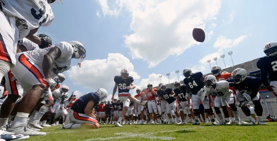 Auburn placekicker Anders Carlson makes a kick to end practice on Thursday, Aug. 8, 2019 in Auburn, Ala.
