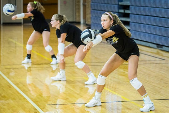 Burris sophomore Lauren Nixon practices at Ball Gym Thursday, Aug. 8, 2019.