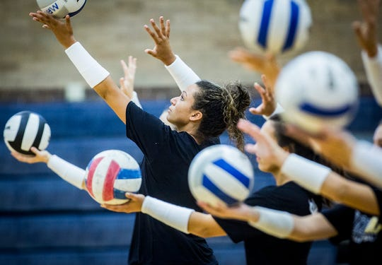 Burris volleyball players practice at Ball Gym Thursday, Aug. 8, 2019.