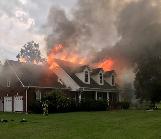 Several fire departments responded to a massive house fire on Deer Run Road Aug. 7, 2019.