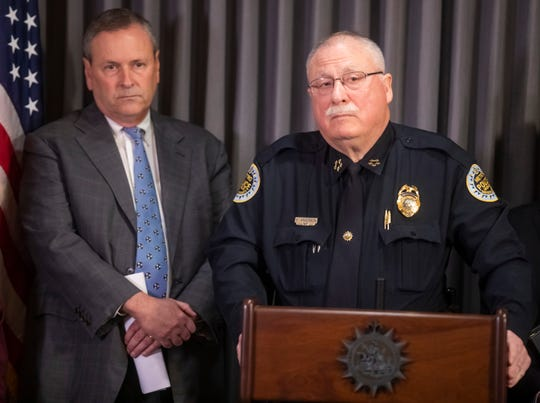 District Attorney Glenn Funk, left, and Metro police Chief Steve Anderson at a press conference in January 2019.
