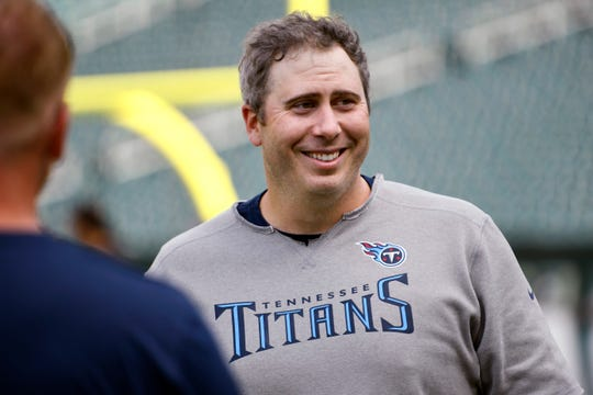 Tennessee Titans offensive coordinator Arthur Smith before the start of the preseason game in Philadelphia on Aug. 8.