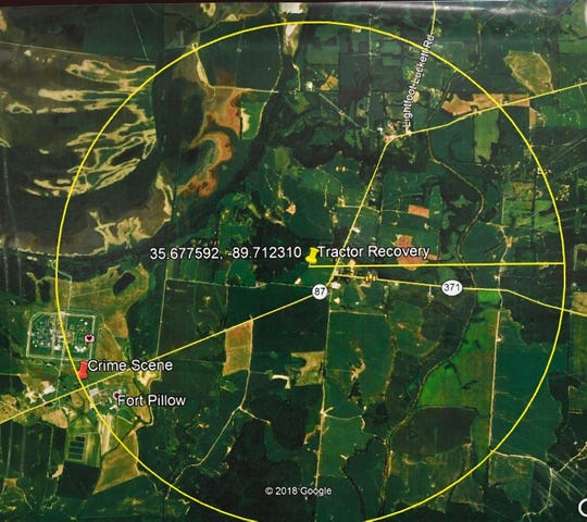 TBI showed this map of the search area as they held a press conference about Curtis Ray Watson, an inmate who escaped from the West Tennessee State Penitentiary.Watson is listed by TBI as a person of interest in the homicde of a Tennessee Department of Correction employee on Wednesday. TBI considers him extremely dangerous. Thursday, Aug. 8, 2019, in Nashville, Tenn.