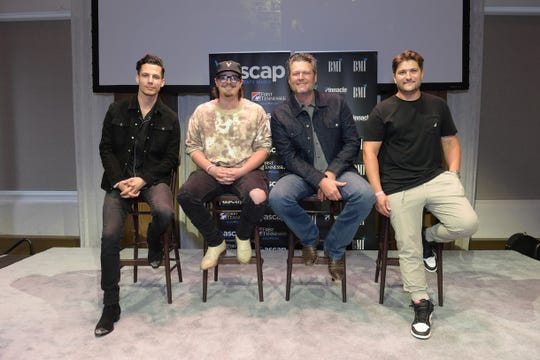 BMI songwriter Devin Dawson, BMI songwriter Michael Hardy, Blake Shelton, ASCAP songwriter Jordan Schmidt
