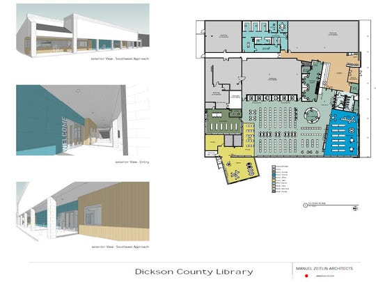 The new Dickson County Library now has a tentative opening estimate. Pictured are the architectural renderings by Manuel Zeitlin and Ethan Levine.