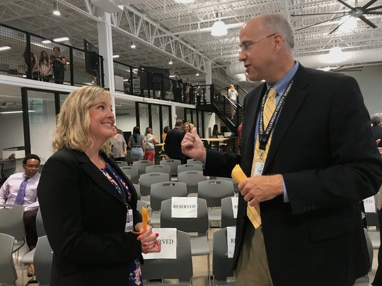 Williamson County Schools director of the Entrepreneurship and Innovation Center Kari Miller and superintendent Jason Golden welcomed a large crowd of supporters on Thursday at the grand opening of the renovated facility.