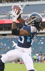 Tennessee Titans cornerback Tye Smith (23) pulls in a catch as he warms up for the preseason game against the Eagles at Lincoln Financial Field Thursday, Aug. 8, 2019, in Philadelphia, Pa .