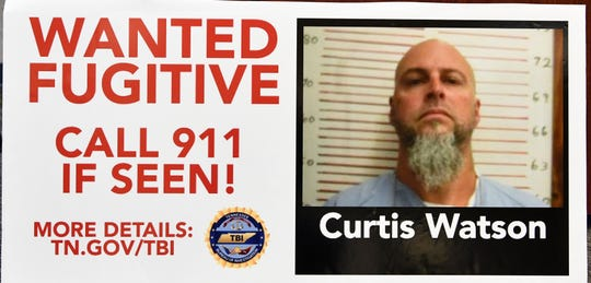 TBI showed a billboard that will appear soon as they held a press conference about Curtis Ray Watson, an inmate who escaped from the West Tennessee State Penitentiary.Watson is listed by TBI as a person of interest in the homicde of a Tennessee Department of Correction employee on Wednesday. TBI considers him extremely dangerous. Thursday, Aug. 8, 2019, in Nashville, Tenn.