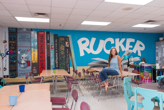 Local artist Kelsi Carter painted a literature-inspired mural in Emily Ingham's seventh-grade classroom at Rucker Stewart Middle School in Gallatin.