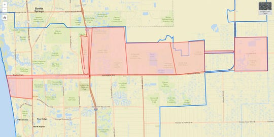 A map provided by Collier County shows  areas affected by a precautionary boil water notice issued Thursday, Aug. 8, 2019.