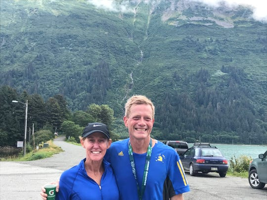 Ted and Angela Blankenship pose for a picture after Ted competed in the Juneau Marathon on July 27.