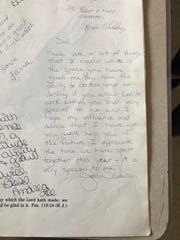 The message then teacher John Schouten wrote to Jodi Priest (then Garwick) in her eighth grade yearbook.