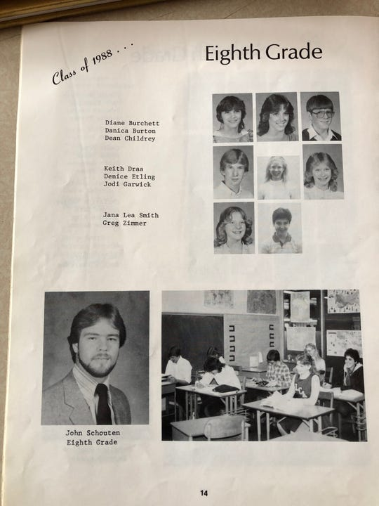 The eighth grade yearbook page for Jodi Priest (then Garwick) showing teacher John Schouten.