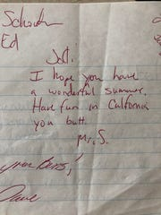 A note Jodi Priest (then Garwick) said teacher John Schouten wrote to her while she was in high school.