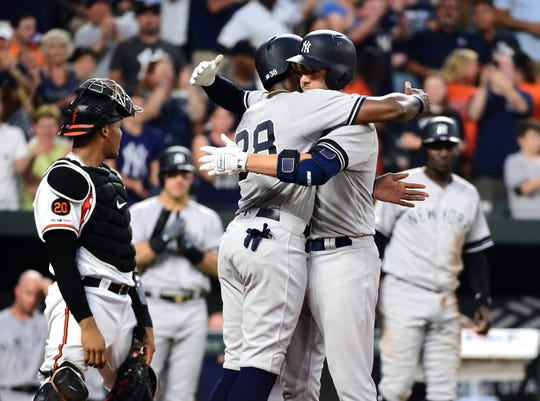 New York Yankees catcher Kyle Higashioka (66) celebrates with outfielder Cameron Maybin (38) after hitting a home run in the fourth inning against the Baltimore Orioles at Oriole Park at Camden Yards.