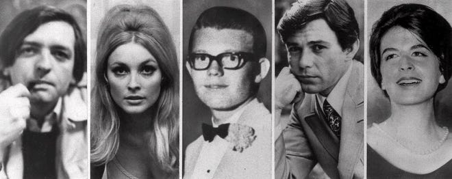 The five victims slain the night of Aug. 9, 1969 at the Benedict Canyon Estate of Roman Polanski. From left, Voityck Frykowski, Sharon Tate, Stephen Parent, Jay Sebring, and Abigail Folger. The next night, it happened again. Rosemary and Leno LaBianca, a wealthy couple who lived across town, were stabbed to death in their home.