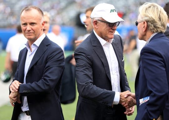 NY Jets owners Chris and Woody Johnson prior to the first pre season game of the 2019 season at MetLife Stadium in East Rutherford, NJ on August 8, 2019.