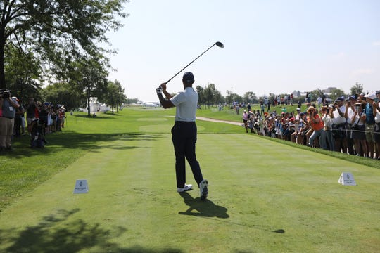 Tiger Woods tees off at 6, at The Northern Trust, at Liberty National Golf Club. Thursday, August 8, 2019