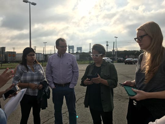 """Orange is the New Black"" actors Vicci Martinez and Emily Tarver speak with Victor Salama and others from First Friends before heading inside a New Jersey jail to visit with immigrant detainees."