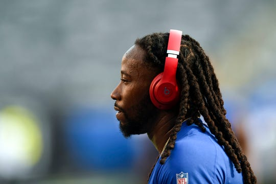 New York Giants cornerback Janoris Jenkins warms up on the field before facing the New York Jets on Thursday, August 8, 2019, in East Rutherford.
