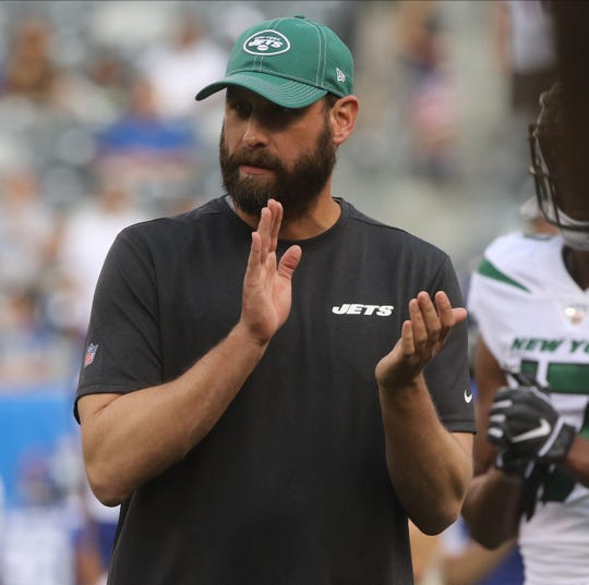 Adam Gase makes his debut as the head coach for the NY Jets prior to the first pre season game of the 2019 season at MetLife Stadium in East Rutherford, NJ on August 8, 2019.