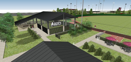 Architectural rendering shows the new training facility planned for Aggie baseball players to use next season.