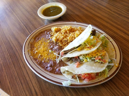Brisket tacos at Old Road Mexican Restaurant at the Mescalero Reservation.