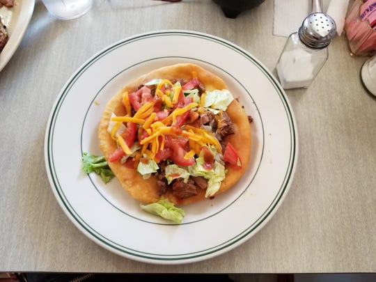 Indian fry bread taco at Yum-Yum's in Tularosa, NM.