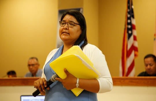 Upper Fruitland Chapter President Lynlaria Dickson comments about a bill to lease land to Navajo Agricultural Products Industry during the Resources and Development Committee special meeting on Aug. 6 at the Upper Fruitland Chapter house.