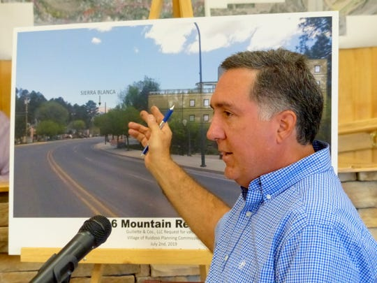 Russ Guilette details his plan to build over an existing shop in midtown Ruidoso to create multi-family housing.