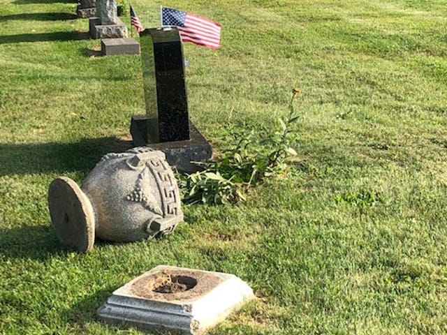 Up to 20 headstones were toppled at South Lyon Cemetery. The damage was reported to police the morning of Aug. 8, 2019.