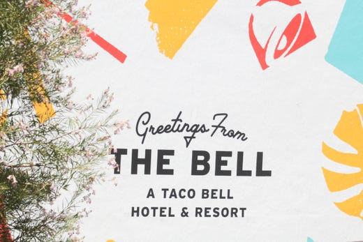 A sign greets guests at Taco Bell's 'The Bell' hotel in Palm Springs, Calif. on Thursday, August 8, 2019.