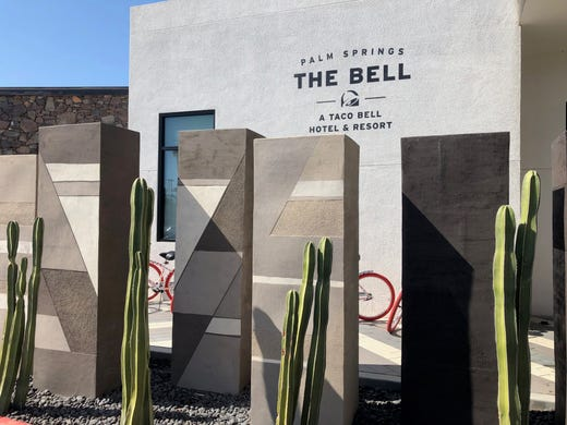"The entrance to ""The Bell"" hotel at V Palm Springs on Aug. 8."