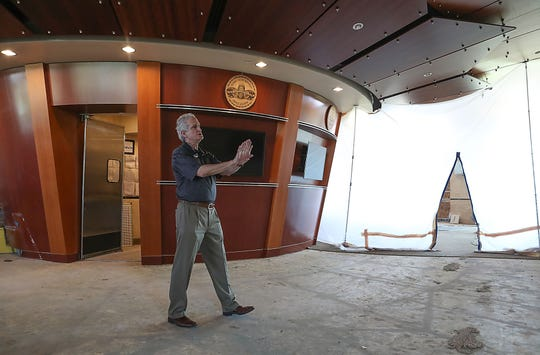 Steve Rosen shows the renovations that will be done inside The Vue Restaurant in Indian Wells, August 8, 2019.