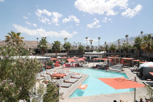 The mountains can be seen from the balcony of rooms at Taco Bell's 'The Bell' hotel in Palm Springs, Calif. on Thursday, August 8, 2019