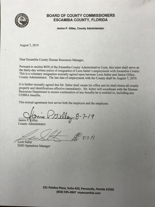 Leon Salter's resignation letter