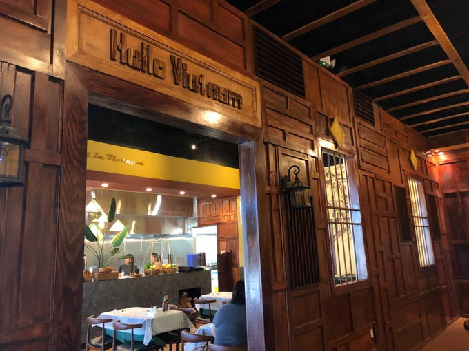 A wooden wall inside the Hello Vietnam restaurant, which recently opened in Peoria. The restaurant is the first of three planned locations for Hello Vietnam.