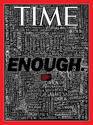 """TIME Magazine's August 19, 2019, cover reads """"ENOUGH,"""" includes five Arizona mass shootings."""