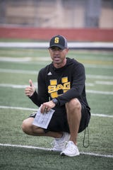 Coach Jason Mohn during football practice, August 6, 2019, at Saguaro High School, 6250 N 82nd St., Scottsdale.