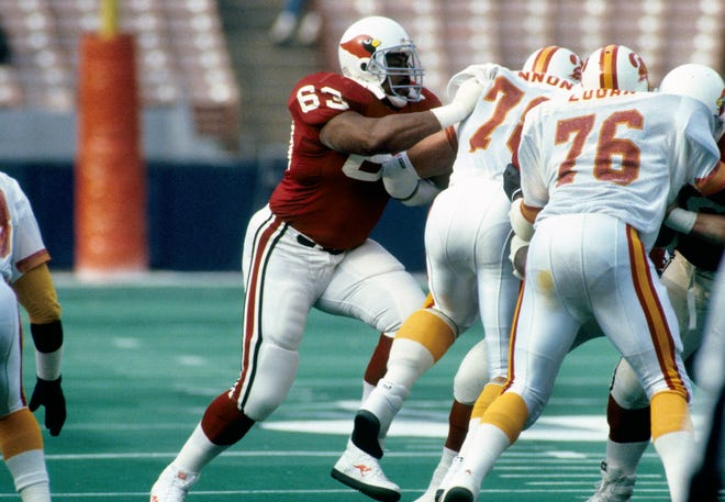 St. Louis Cardinals tackle Tootie Robbins (63) works against the Tampa Bay Buccaneers at Busch Stadium.