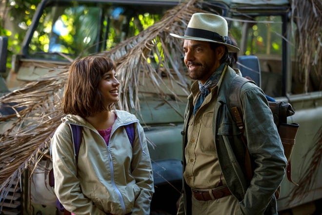 "Isabella Moner and Eugenio Derbez star in ""Dora and the Lost City of Gold,"" playing at Regal West Manchester, Frank Theatres Queensgate Stadium 13 and R/C Hanover Movies."