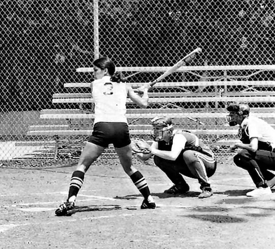 Pat Hixson (catching) played and coached at Nevada. The current softball facility is named for her.