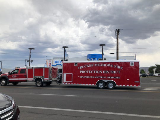 The Truckee Meadows Fire Protection hazardous materials rig parked on Kietzke Lane in front of Bill Pearce Honda during a possible hazmat situation on Aug. 8.