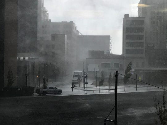 Heavy rain falls at Parcel 5 in downtown Rochester on Aug. 8, 2019.