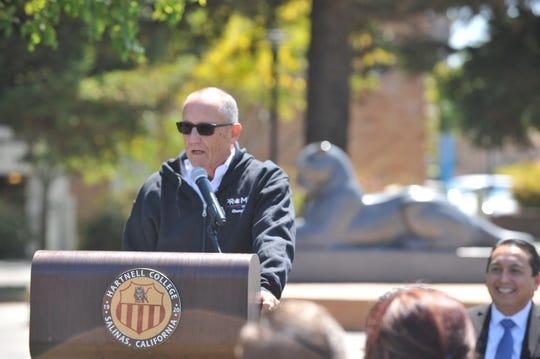 Hartnell College President/Superintendent Willard Lewallen introduces the Salinas Valley Promise program. Aug. 8, 2019.