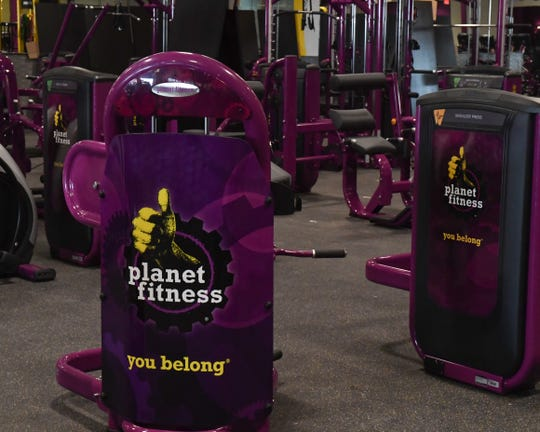 Planet Fitness memberships cost $10 per month and signups are at a store near Macy's. Aug. 7, 2019.