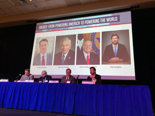 """The West Texas Legislative Summit panel prepares to discuss """"Energy: From Powering America to Powering the World"""" in San Angelo on Thursday, Aug. 8, 2019."""