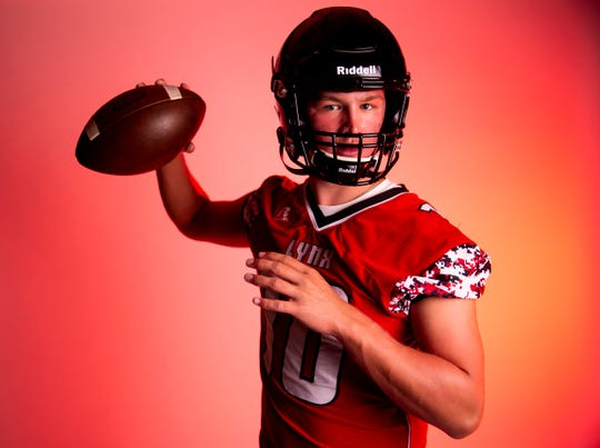 Quarterback Thomas Scholten of Brandon Valley High School football team poses for a portrait during the Argus Leader football media day, Tuesday, Aug. 6.