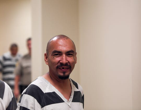 Gary Bordeaux, 35, is escorted into Minnehaha County Court, Thursday, Aug. 8.